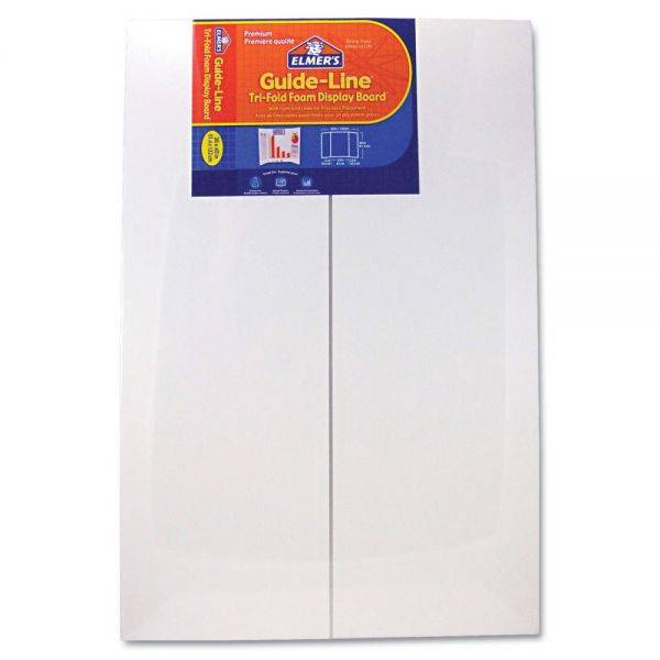 Elmer's Guide-Line Paper-Laminated Polystyrene Foam Display Board, 36 x 48, White, 6/Pack