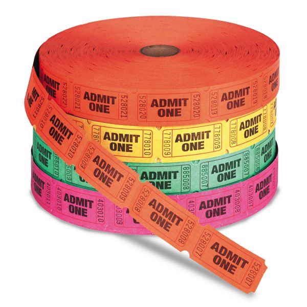 Generations Admit One Single Ticket Roll, Numbered, Assorted, 2000 tickets/roll