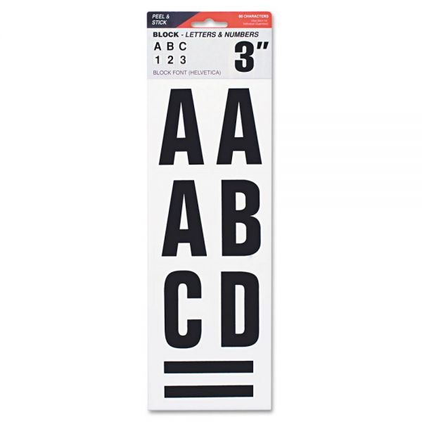 "COSCO Letters, Numbers & Symbols, Adhesive, 3"", Black"