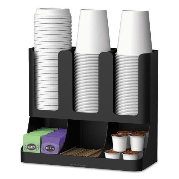 Mind Reader Flume Six-Section Upright Coffee Condiment/Cup Organizer, Black, 11.5 x 6.5 x 15