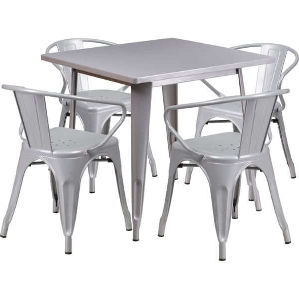 Flash Furniture 31.5'' Square Silver Metal Indoor-Outdoor Table Set with 4 Arm Chairs