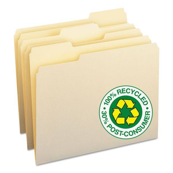 Smead 100% Recycled File Folders, 1/3 Cut, One-Ply Top Tab, Letter, Manila, 100/Box