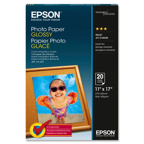 Epson Glossy Photo Paper, 60 lbs., Glossy, 11 x 17, 20 Sheets/Pack