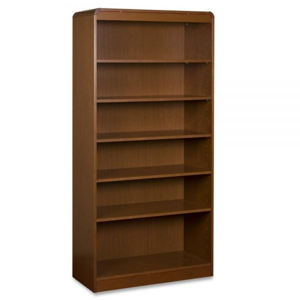 Lorell 6-Shelf Hardwood Veneer Bookcase