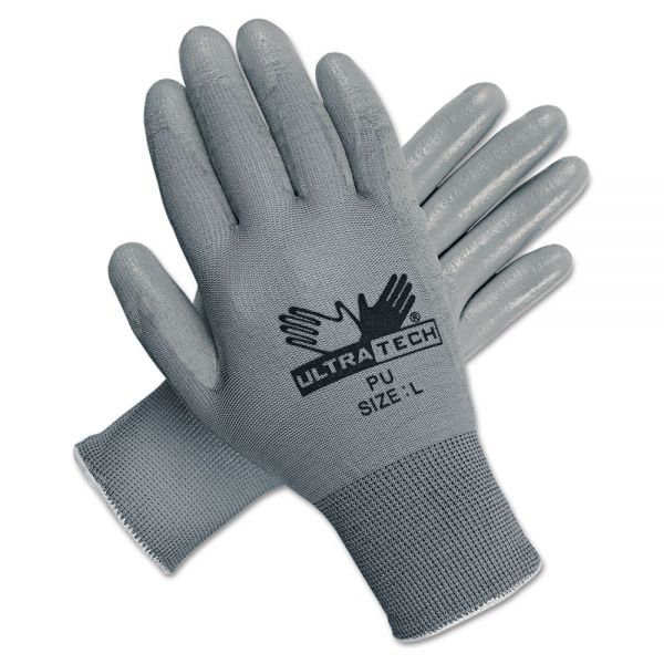 MCR Safety Ultra Tech Tactile Dexterity Work Gloves, White/Gray, Large, 12 Pairs