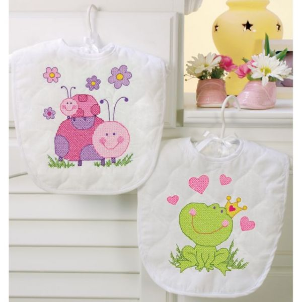 Dimensions Baby Hugs Fairy Bibs Stamped Cross Stitch Kit
