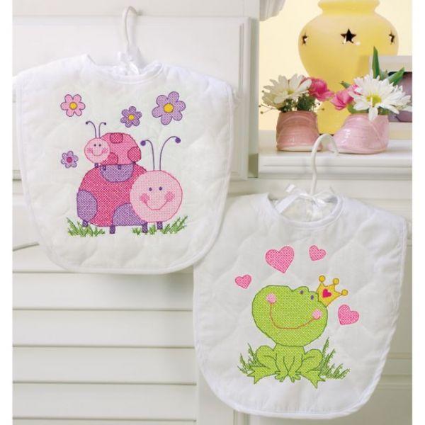 Baby Hugs Fairy Bibs Stamped Cross Stitch Kit