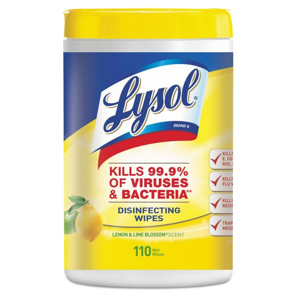 LYSOL Brand Disinfecting Wipes, 7 x 8, White, Lemon And Lime Blossom Scent, 110/Canister