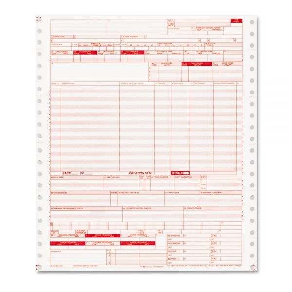 Paris Corporation UB04 Insurance Claim Form, 2-Part, White/Canary, 9 1/2 x 11, 1000 Forms