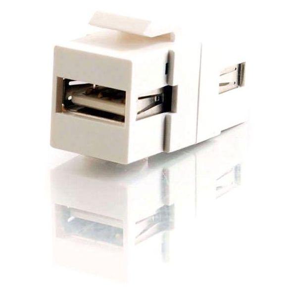 C2G Snap-In USB A/A Female Keystone Insert Module - White
