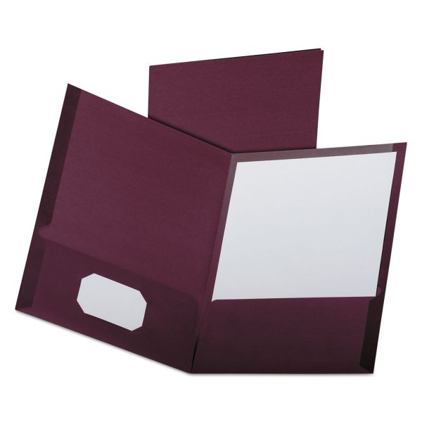 Oxford Burgundy Two Pocket Folders