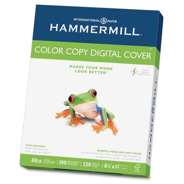 Hammermill Copier Digital Cover Stock, 80 lbs., 8 1/2 x 11, Photo White, 250 Sheets