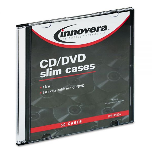 Innovera Slim CD Cases, Clear, 50 Cases per Pack