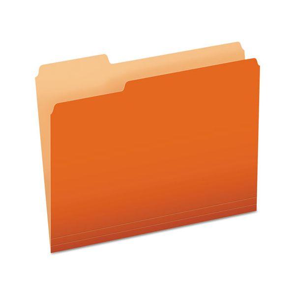 Pendaflex Colored File Folders, 1/3 Cut Top Tab, Letter, Orange/Light Orange, 100/Box