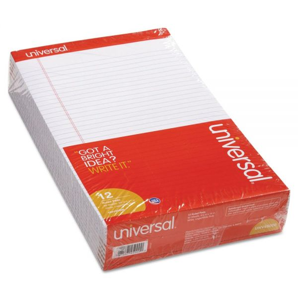 Universal Perforated Edge Writing Pad, Wide/Margin Rule, Legal, White, 50 Sheet, Dozen