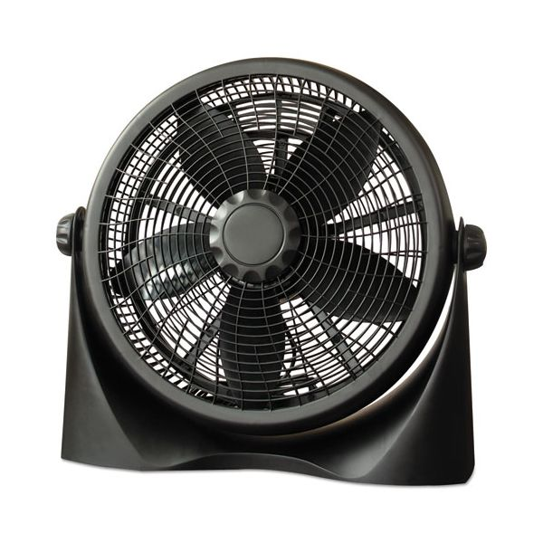 "Alera 16"" Super-Circulation 3-Speed Tilt Fan, Plastic, Black"