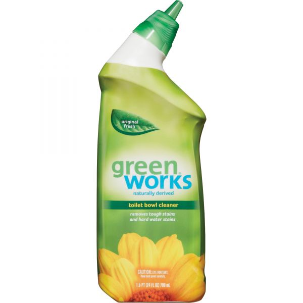 Green Works Toilet Bowl Cleaner, Original Fresh, 24 oz Squeeze Bottle, 9/Carton