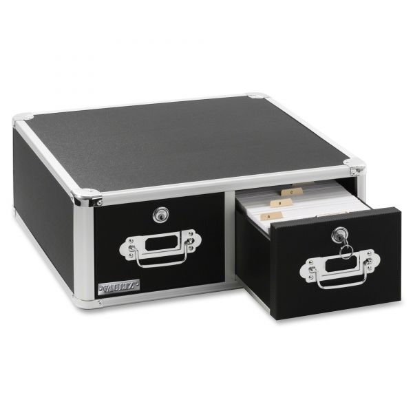 IdeaStream Vaultz Locking 5 x 3 Two-Drawer Index Card Box, 3,000-Card Capacity, Black