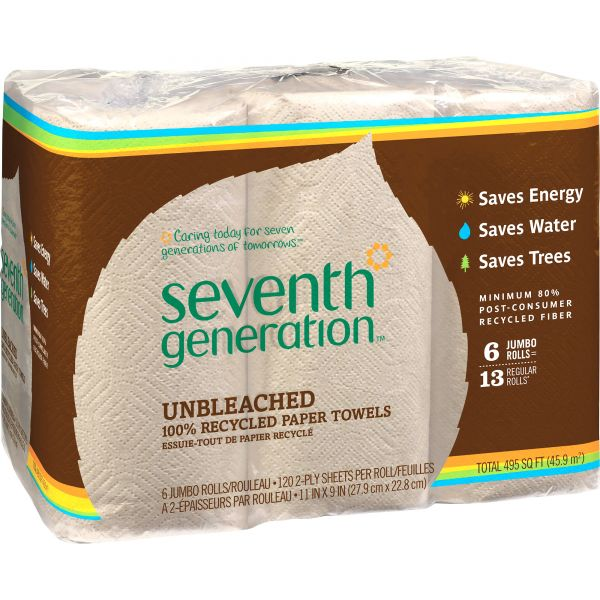 """Seventh Generation Natural Unbleached Paper Towels, 11"""" x 9"""", 2 Ply, Natural, 120 Sheets/ Roll, 24 Rolls/ Carton"""