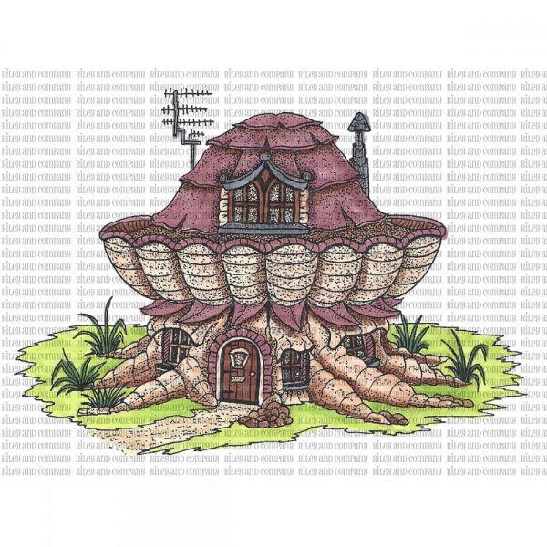 "Riley & Company Mushroom Lane Cling Stamp 3.5""X4.5"""