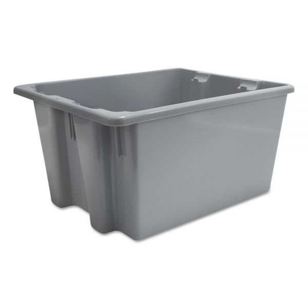 Rubbermaid Commercial Palletote Box, 9.72gal, Gray, 10/Carton