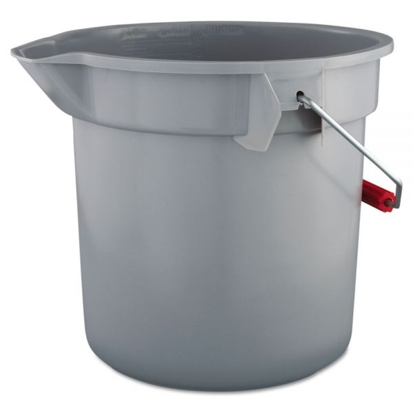 Rubbermaid Commercial Brute Round Plastic Bucket, 14qt, Gray