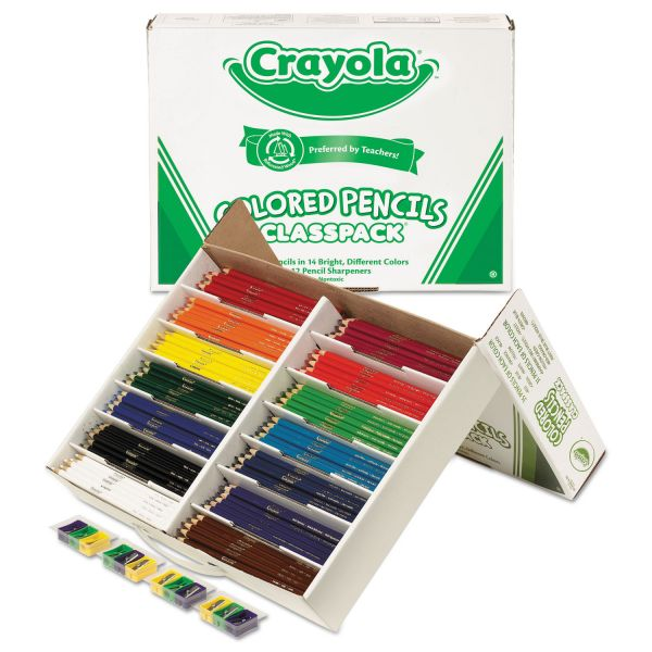 Crayola Colored Woodcase Pencil Classpack, 3.3mm, 33 EA of 14 Ast Colors + 12 Sharpeners