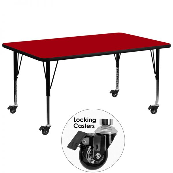 Flash Furniture Mobile 30''W x 72''L Rectangular Activity Table with Red Thermal Fused Laminate Top and Height Adjustable Preschool Legs