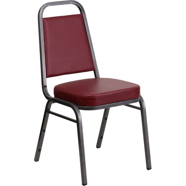 Flash Furniture HERCULES Series Trapezoidal Back Stacking Banquet Chair with Burgundy Vinyl and 2.5'' Thick Seat - Silver Vein Frame