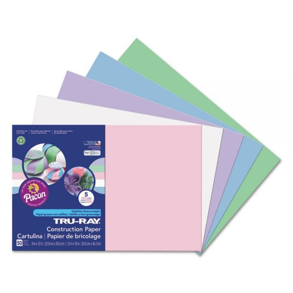 Pacon Tru-Ray Construction Paper, 76 lbs., 12 x 18, Assorted Pastel, 50 Sheets/Pack
