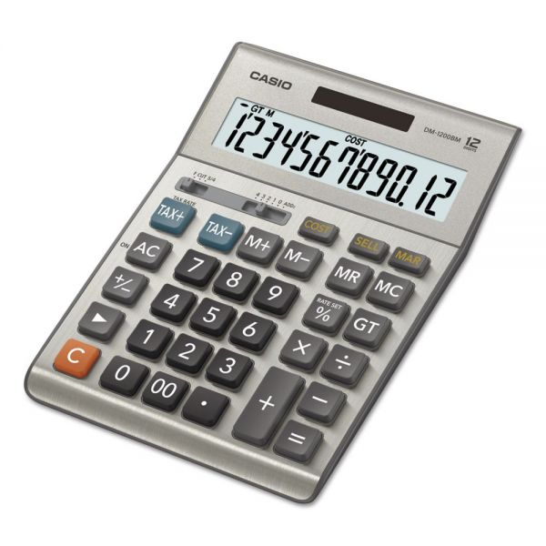 Casio DM1200BM Desktop Calculator, 12-Digit LCD, Silver