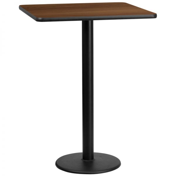 Flash Furniture 30'' Square Walnut Laminate Table Top with 18'' Round Bar Height Table Base