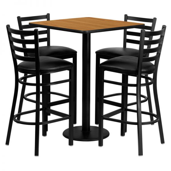 Flash Furniture 30'' Square Natural Laminate Table Set with 4 Ladder Back Metal Barstools - Black Vinyl Seat