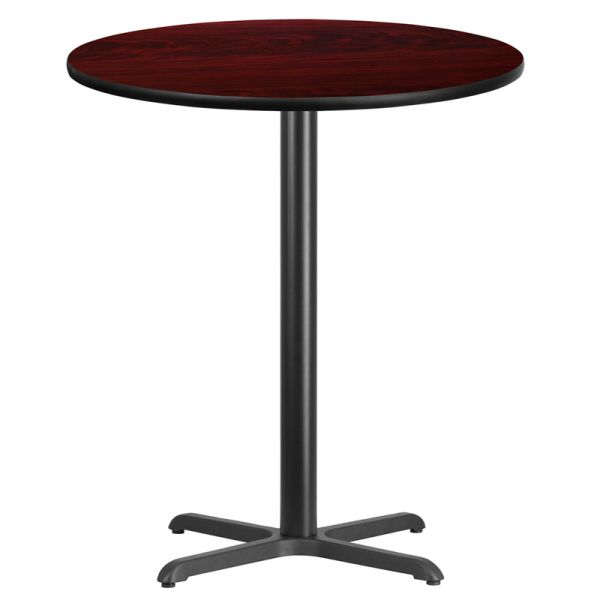 Flash Furniture 36'' Round Mahogany Laminate Table Top with 30'' x 30'' Bar Height Table Base