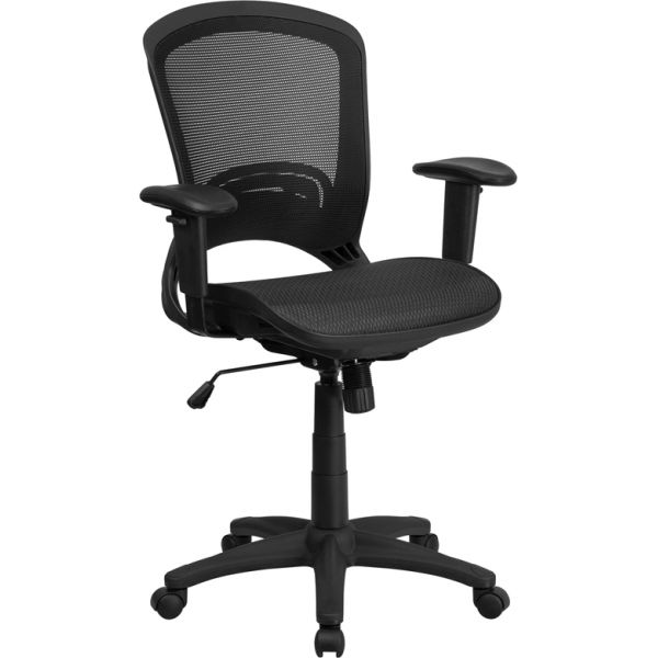 Flash Furniture Mid-Back Mesh Executive Swivel Office Chair with Height Adjustable Arms