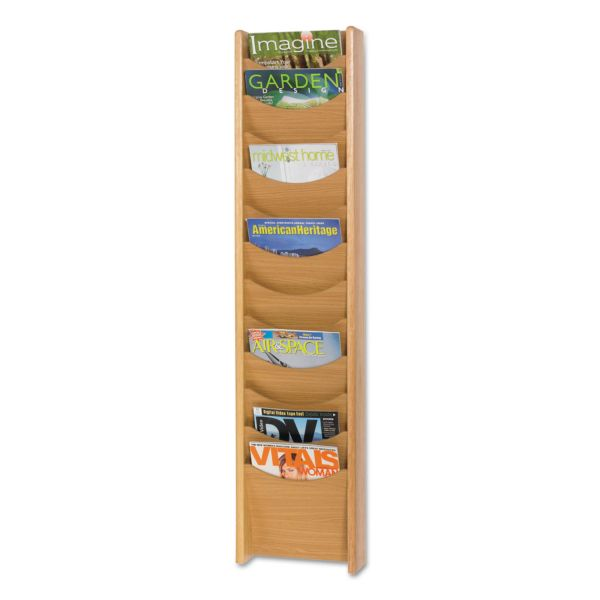 Safco 12-Pocket Wood Magazine Rack