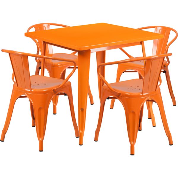 Flash Furniture 31.5'' Square Orange Metal Indoor-Outdoor Table Set with 4 Arm Chairs