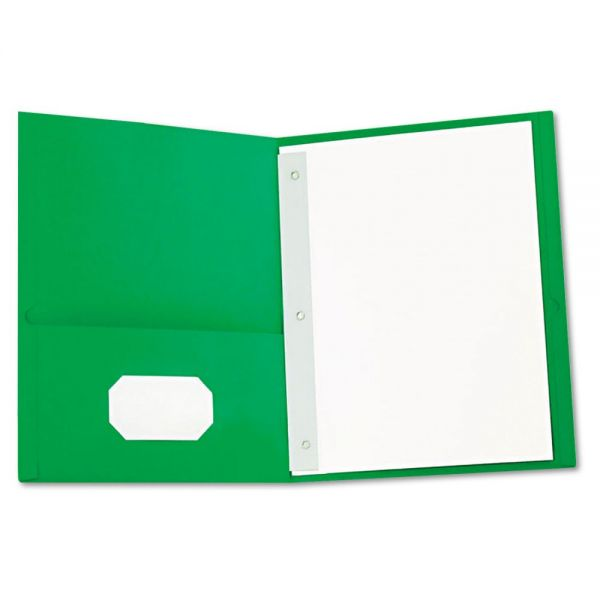 Universal Green Two Pocket Folders with Fasteners