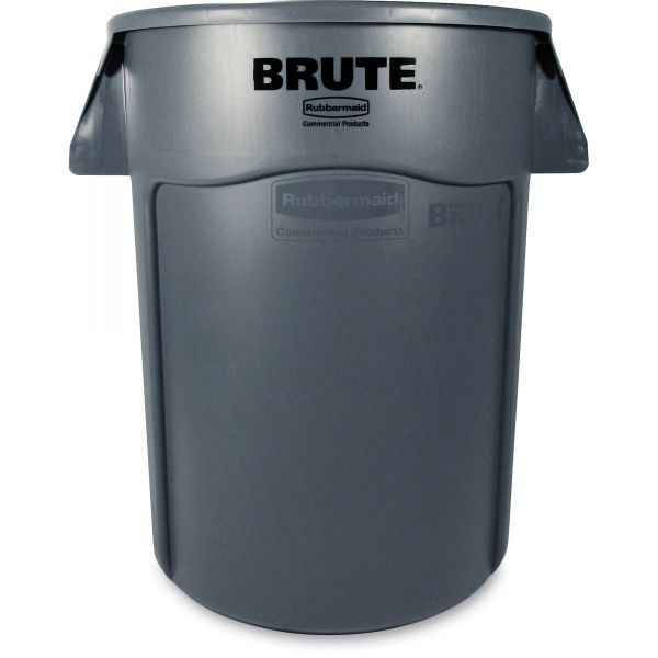 Rubbermaid Commercial Brute Vented Trash Receptacle, Round, 44 gal, Gray