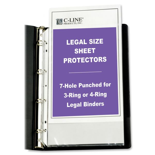 C-Line Top Loading Poly Sheet Protectors, Legal, Heavyweight, Clear, 50/Box