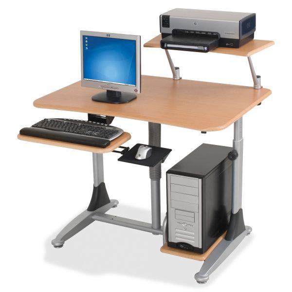BALT Ergo Sit-Stand Workstation, 41w x 29d x 29-39h, Teak/Silver, Base (Box Two)