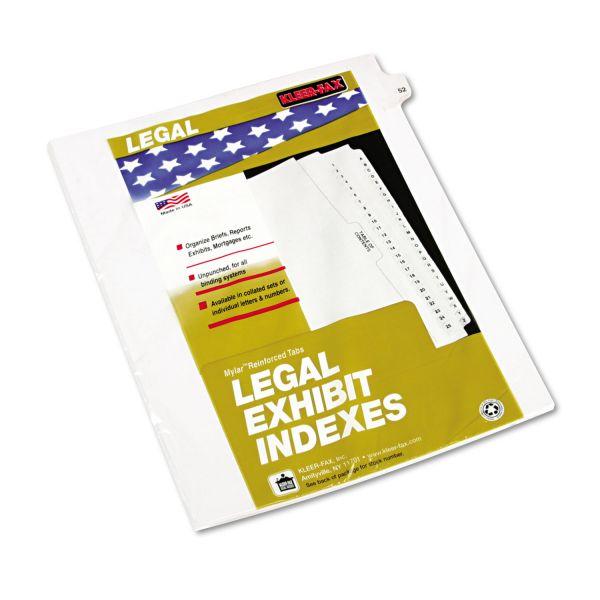 """Kleer-Fax 80000 Series Legal Index Dividers, Side Tab, Printed """"52"""", 25/Pack"""
