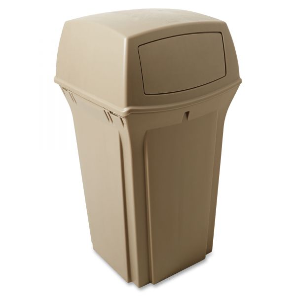 Rubbermaid Ranger 35 Gallon Trash Can With Hinged Lid