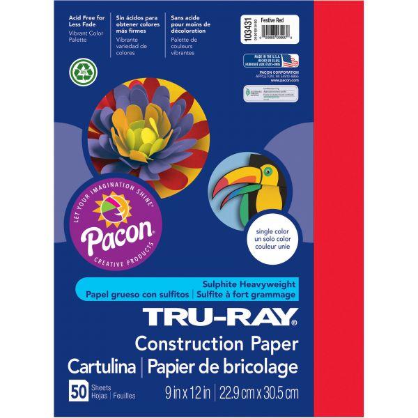 Tru-Ray Sulphite Red Construction Paper