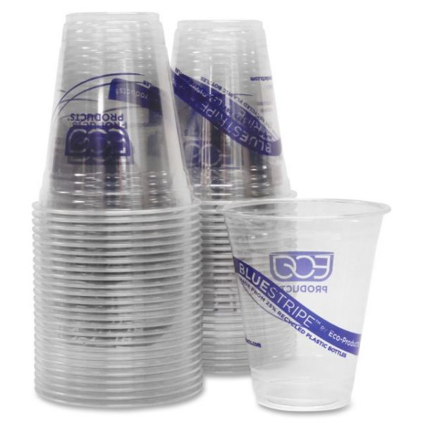 Eco-Products BlueStripe 12 oz Plastic Cold Cups