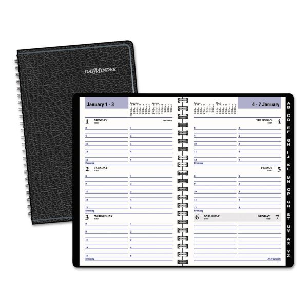 AT-A-GLANCE DayMinder Block Format Weekly Appointment Book w/Contacts Section, 4 7/8 x 8, Black, 2018