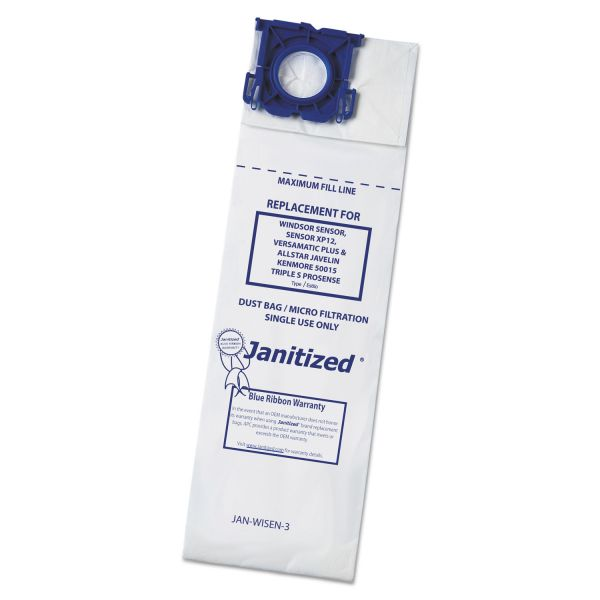 Janitized Vacuum Filter Bags Designed to Fit Windsor Sensor/2/XP/Versamatic Plus, 100/CT