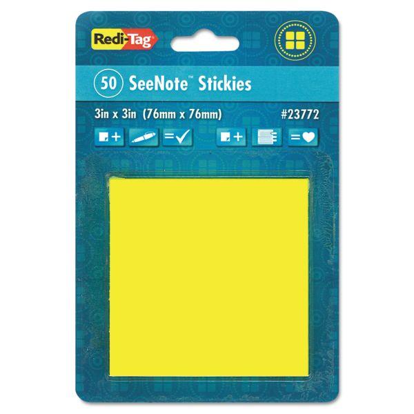 """Redi-Tag 3"""" x 3"""" Transparent Adhesive Note Pad"""