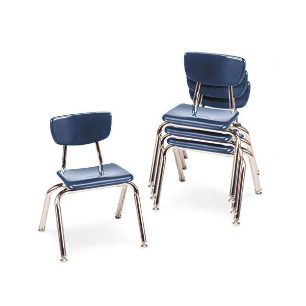 "Virco 3000 Series Classroom Chairs, 12"" Seat Height, Navy, 4/Carton"