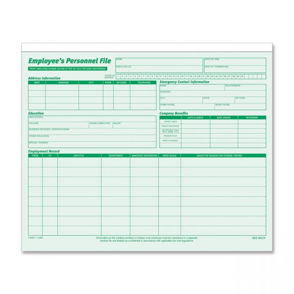 TOPS Employee Record File Folders